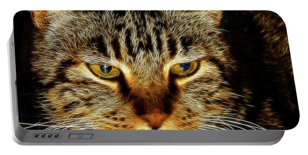 Meow Meow Portable Battery Charger featuring the digital art My Bored Cat by Mariola Bitner