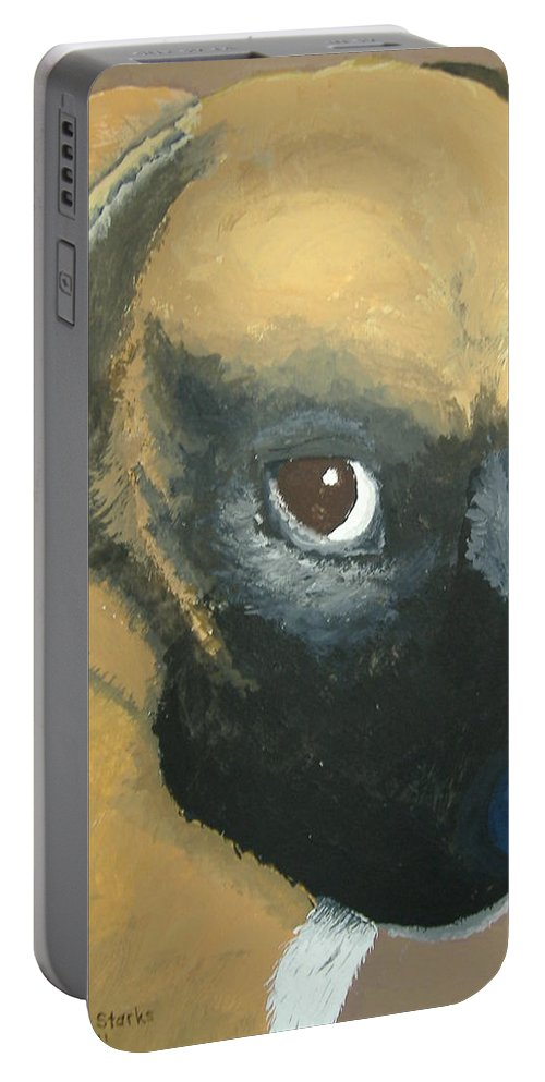Dog Portable Battery Charger featuring the painting My Name Is Attitude by Norm Starks