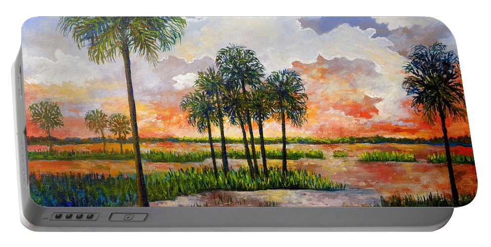 Sunset Portable Battery Charger featuring the painting Myakka Sunset by Lou Ann Bagnall