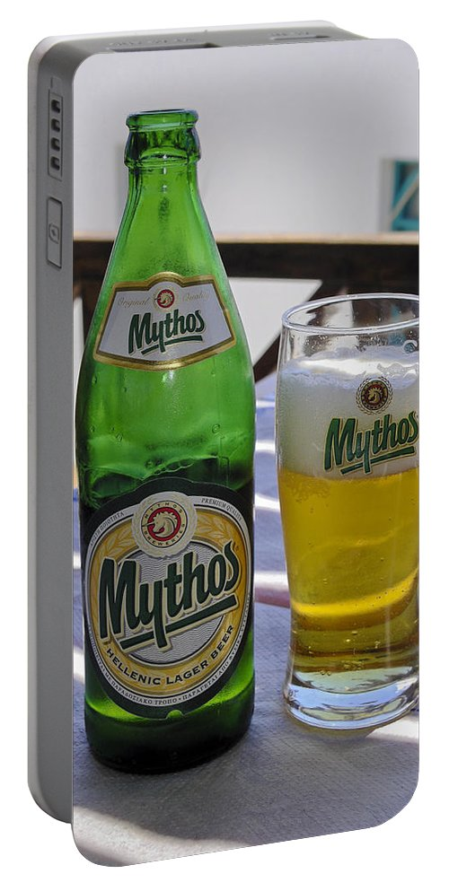 Mythos Beer Bottle Portable Battery Charger featuring the photograph Mythos Beer by Sally Weigand