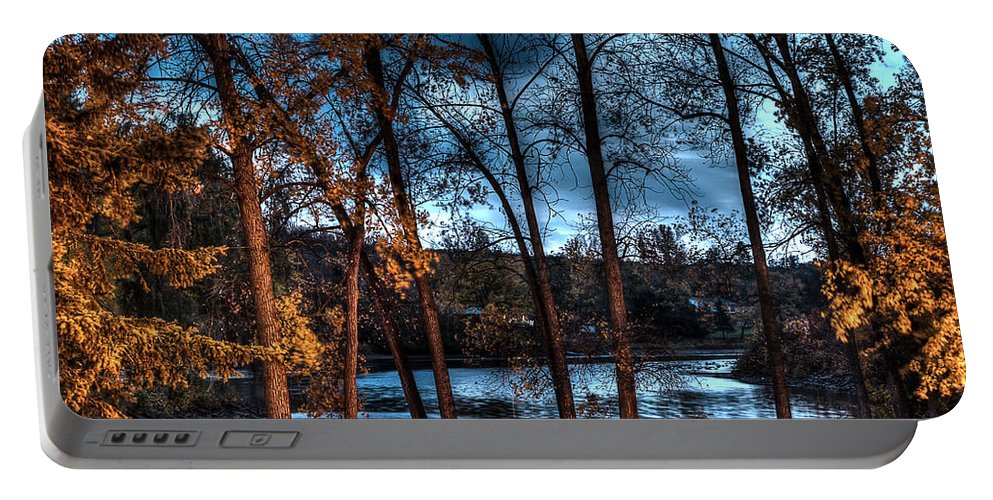 Acrylic Prints; Aluminum Prints; Canvas Prints; Digital; Digital Art; Framed Prints; Greeting Cards; John Herzog; Metal Prints; Photo; Photograph; Photography; Posters; Prints; Xdop; color Portable Battery Charger featuring the photograph Napanee River At Dawn by John Herzog