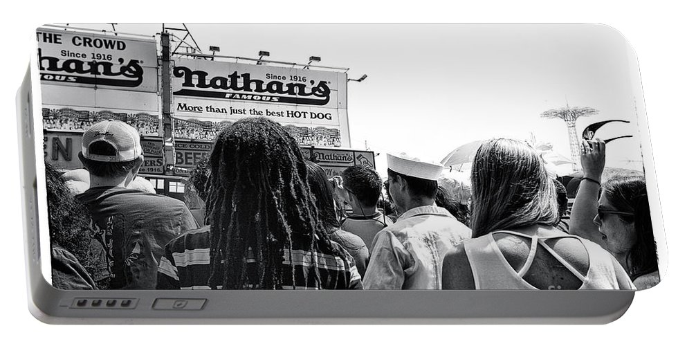 Nathan's Portable Battery Charger featuring the photograph Nathan's Crowd In Coney Island 2 by Madeline Ellis