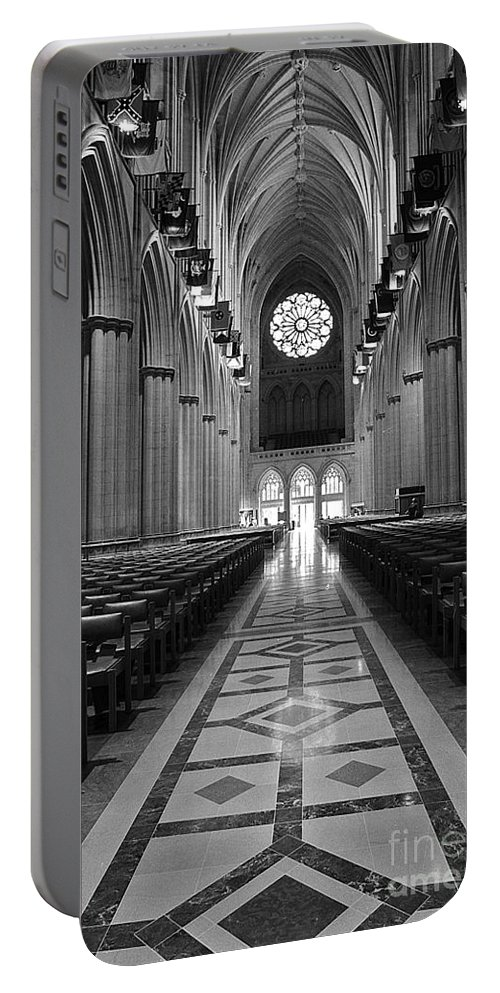 National Cathedral Portable Battery Charger featuring the photograph National Cathedral Interior Bw by Mike Nellums