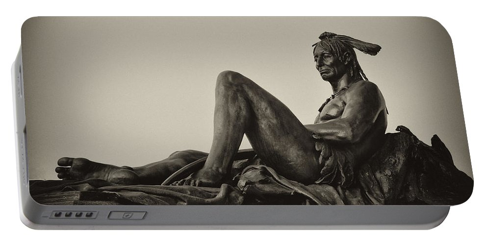 Native Portable Battery Charger featuring the photograph Native American Statue - Eakins Oval Philadelphia by Bill Cannon