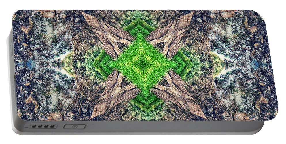Abstract Portable Battery Charger featuring the photograph Nature Mandala by Stelios Kleanthous
