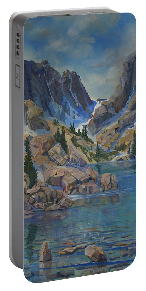 Portable Battery Charger featuring the painting Near Haydens Spires by Heather Coen