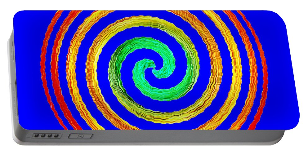 Gerbera Portable Battery Charger featuring the photograph Neon Spiral Blue by Chris Day