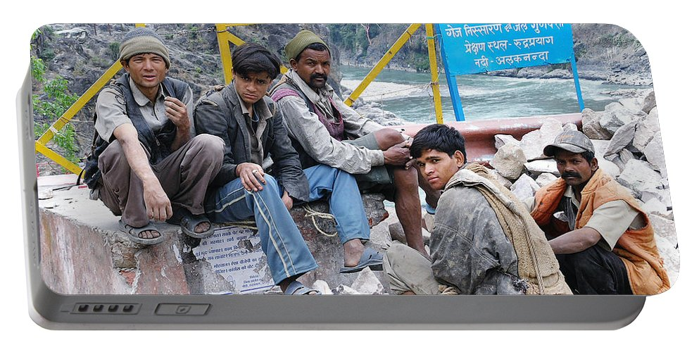Nepali Ganges Labourer Labourers Work workmen Gang Chain-gang Road-gang Ethnic Men Workers India Ganges Utranchal Uttrakhand Devraprayag River Mountains Male Youths Boys Portable Battery Charger featuring the photograph Nepali Labourers At Devraprayag by Neil Pollick