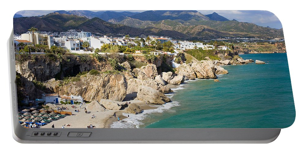 Costa Portable Battery Charger featuring the photograph Nerja Town On Costa Del Sol In Spain by Artur Bogacki