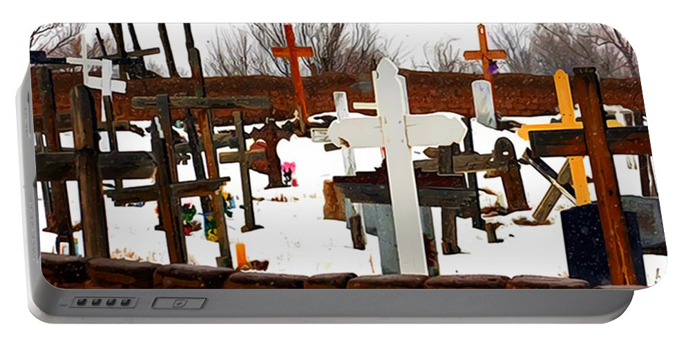 Cemetery Portable Battery Charger featuring the photograph New Mexico Christmas Eve by Terry Fiala