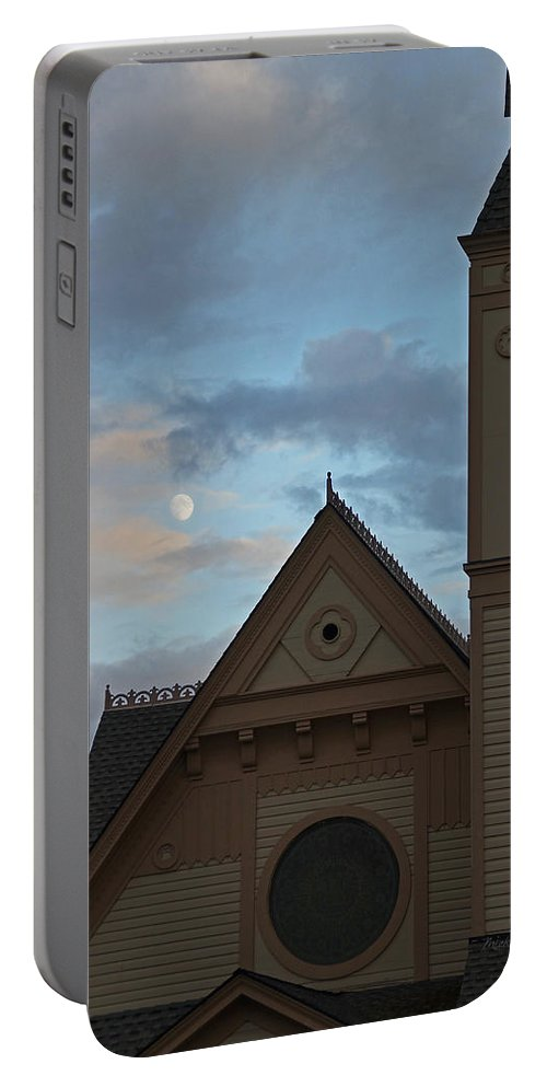Newman Portable Battery Charger featuring the photograph Newman United Methodist And Moon by Mick Anderson