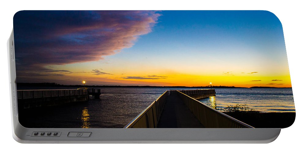 Pier Portable Battery Charger featuring the photograph Night Approaches by Shannon Harrington