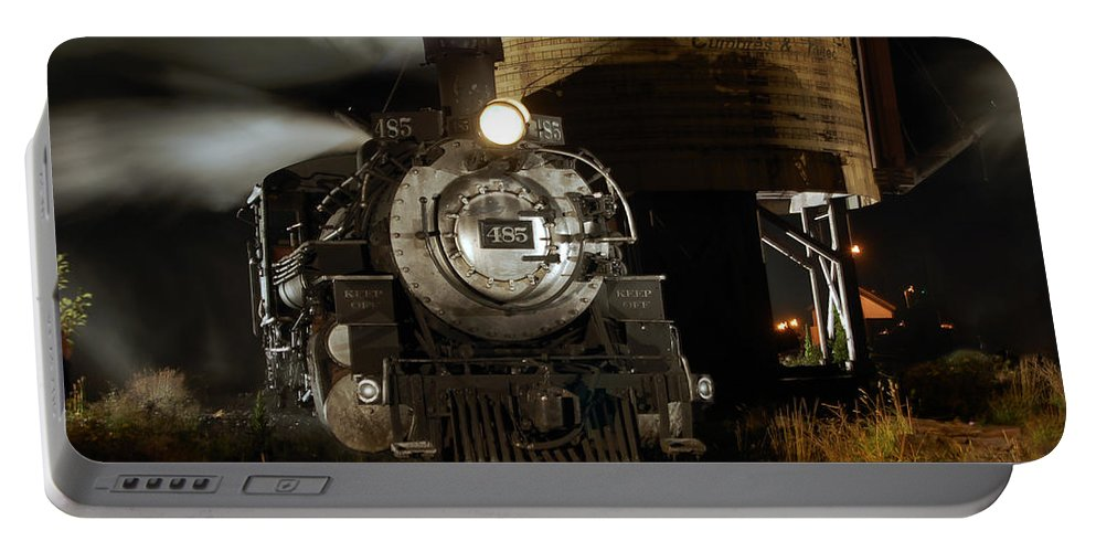Steam Train Photographs Portable Battery Charger featuring the photograph Night At The Water Tower by Ken Smith