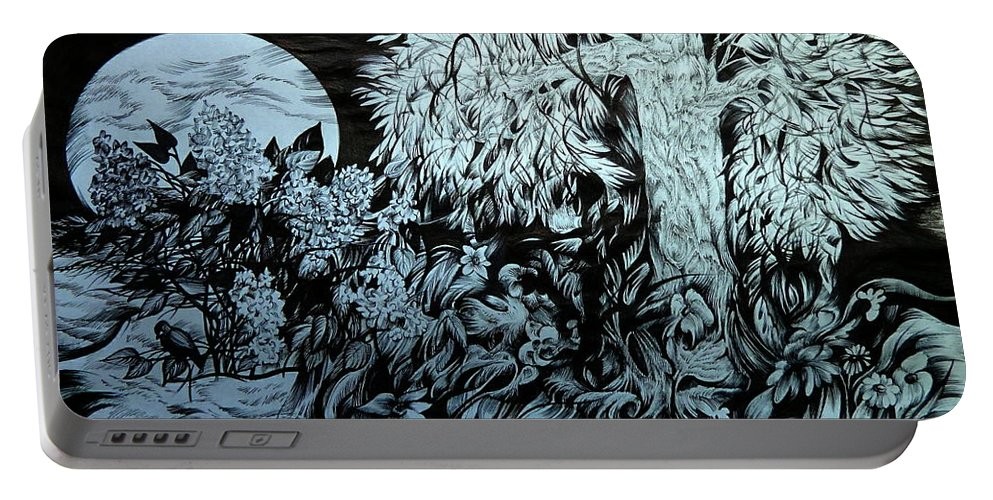 Graphica Portable Battery Charger featuring the drawing Nightingale Night by Anna Duyunova