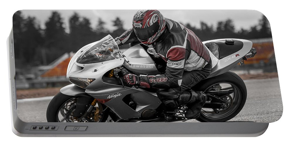 Kawasaki Portable Battery Charger featuring the photograph Ninja On The Track by Ari Salmela