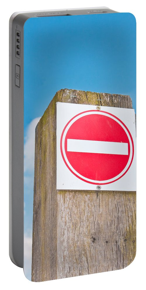 Abstract Portable Battery Charger featuring the photograph No Entry Sign by Tom Gowanlock