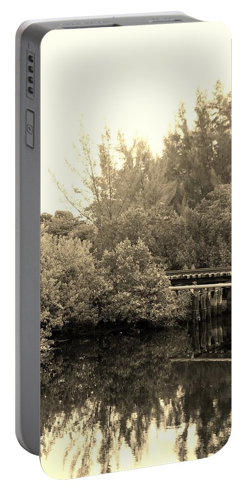 Sepia Portable Battery Charger featuring the photograph North Fork River In Sepia by Rob Hans