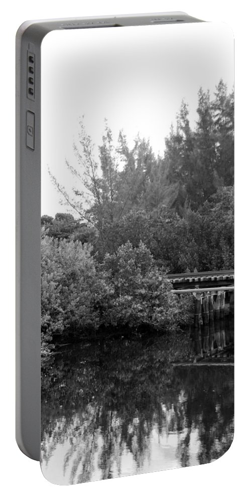 Black And White Portable Battery Charger featuring the photograph North Fork River by Rob Hans