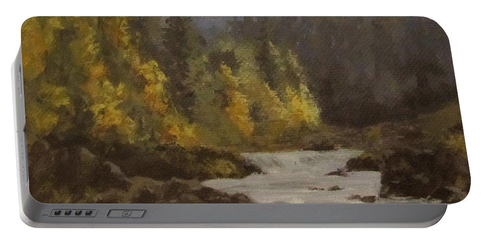 Landscape Portable Battery Charger featuring the painting North Umpqua Autumn by Karen Ilari