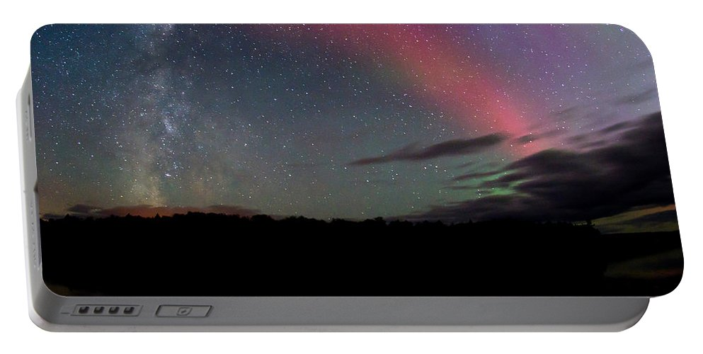 Aurora Borealis Portable Battery Charger featuring the photograph Northern Lights and the Milky Way by Cale Best