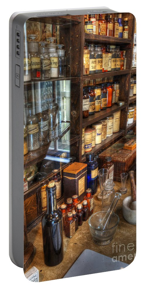 Nostalgia Portable Battery Charger featuring the photograph Nostalgia Pharmacy by Bob Christopher