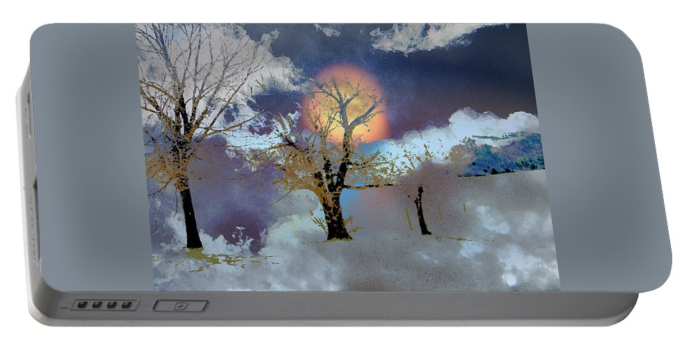 Abstract Portable Battery Charger featuring the photograph November Moon by Lenore Senior