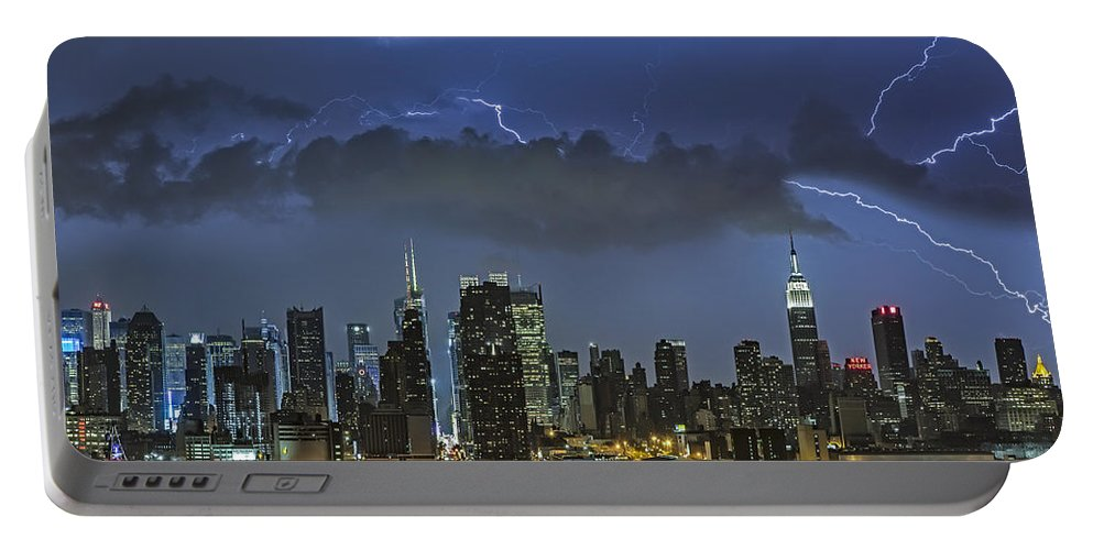 Lightning Portable Battery Charger featuring the photograph Nyc All Charged Up by Susan Candelario
