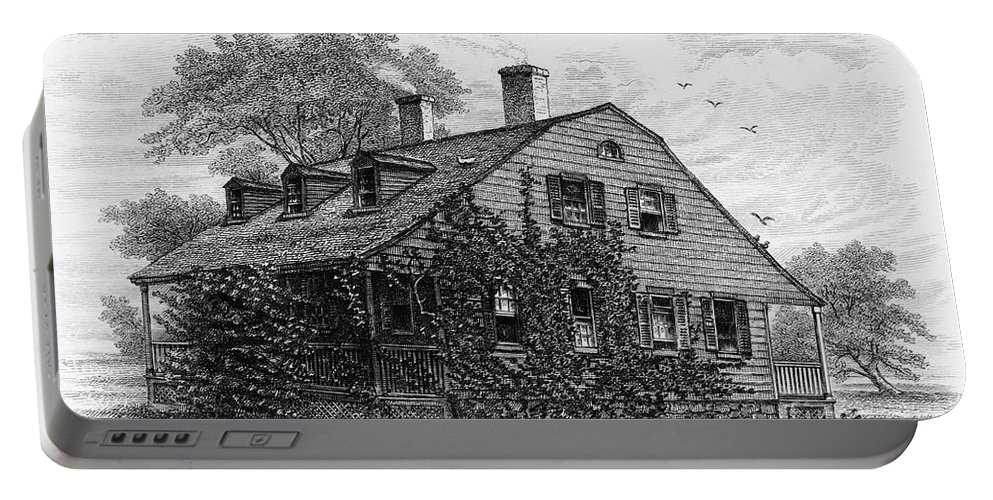 1698 Portable Battery Charger featuring the photograph Nyc: Farmhouse, 1698 by Granger