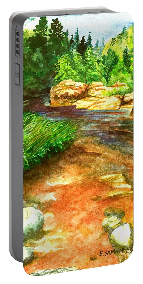 Arizona Portable Battery Charger featuring the painting Oak Creek Red by Eric Samuelson