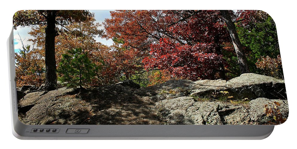 Landscape Portable Battery Charger featuring the photograph Oak Rock by Susan Herber
