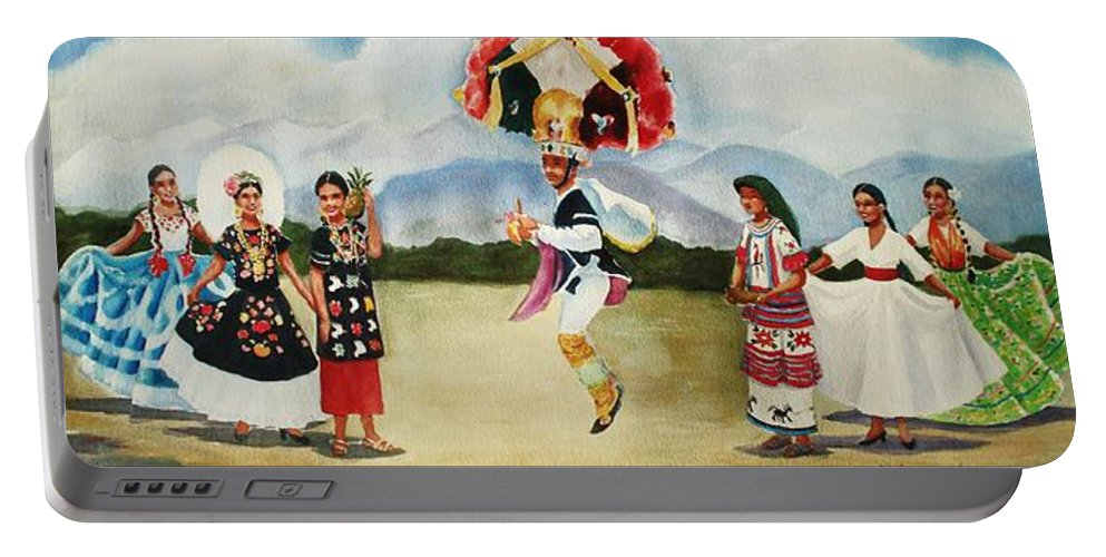 Mexico Portable Battery Charger featuring the painting Oaxaca Dancers by Marilyn Jacobson