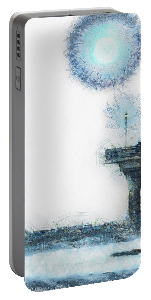 Blue Portable Battery Charger featuring the digital art Occasional Friends by Steve Taylor