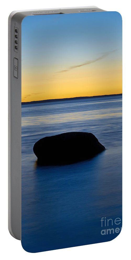 Maine Portable Battery Charger featuring the photograph Ocean Boulder by John Greim