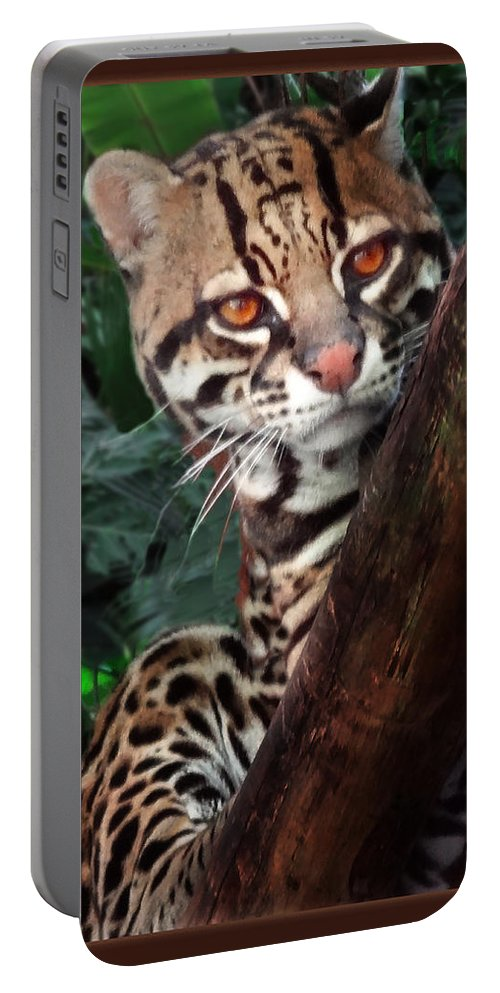 Ocelot Portable Battery Charger featuring the painting Ocelot Lookout by Melinda Hughes-Berland