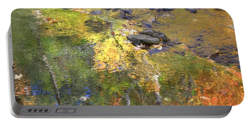 Monet Portable Battery Charger featuring the photograph October Colors Reflected by Valentino Visentini