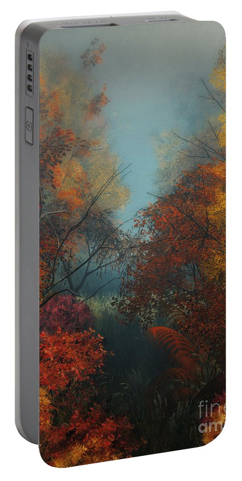 3d Portable Battery Charger featuring the digital art October by Jutta Maria Pusl