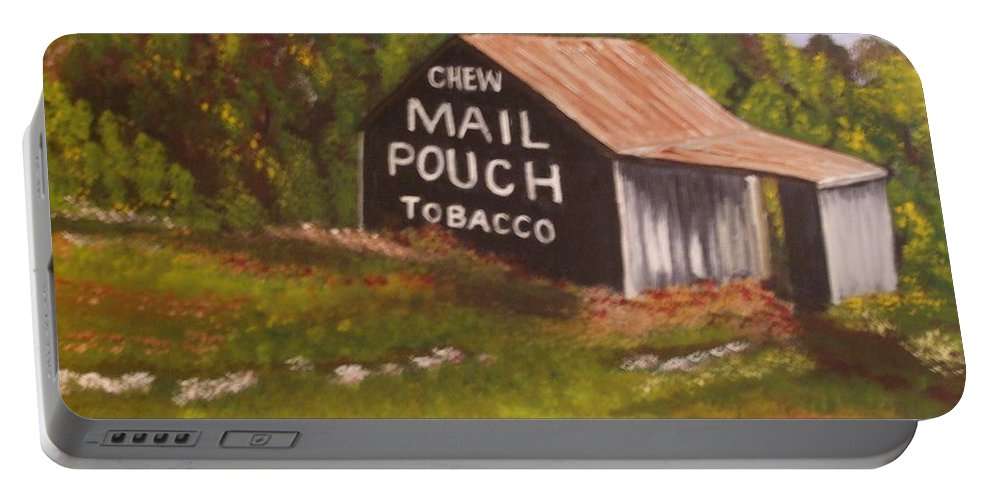 Landscape Portable Battery Charger featuring the painting Ohio Mail Pouch Barn by Evelyn Froisland