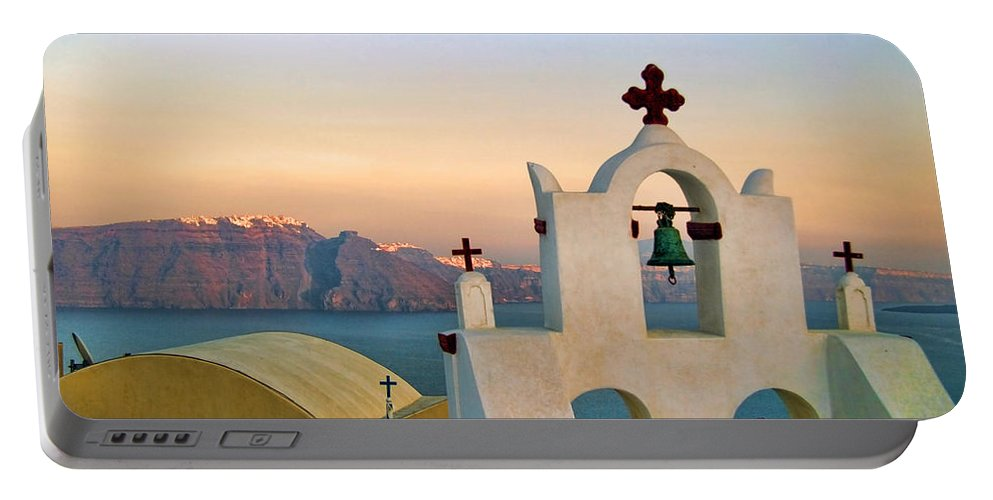 Blue Portable Battery Charger featuring the photograph Oia In Santorini by David Smith