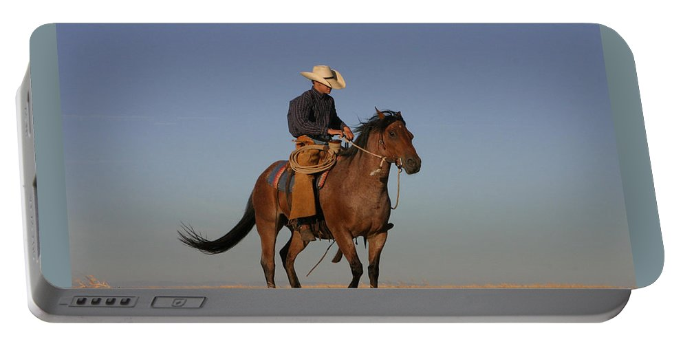 Cowboy Portable Battery Charger featuring the photograph Ol Chilly Pepper by Diane Bohna
