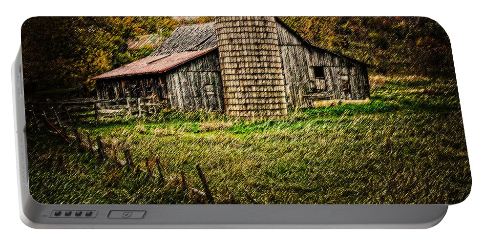 Barn Portable Battery Charger featuring the photograph old barnin Iowa by Randall Branham