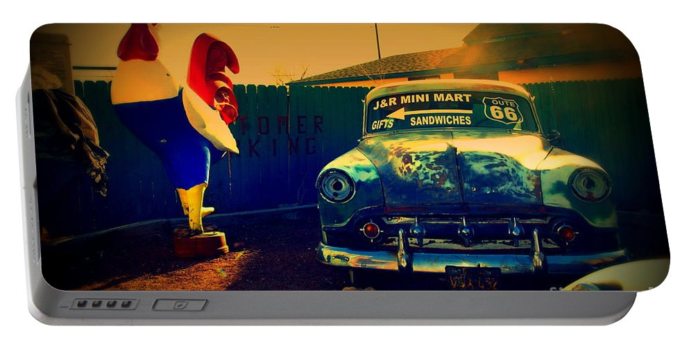 Route 66 Portable Battery Charger featuring the photograph Old Chevrolet On Route 66 by Susanne Van Hulst