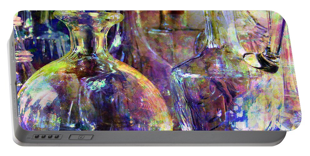 Glass Portable Battery Charger featuring the digital art Old Decanters by Barbara Berney