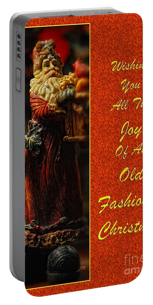 Christmas Portable Battery Charger featuring the photograph Old Fashioned Santa Christmas Card by Lois Bryan