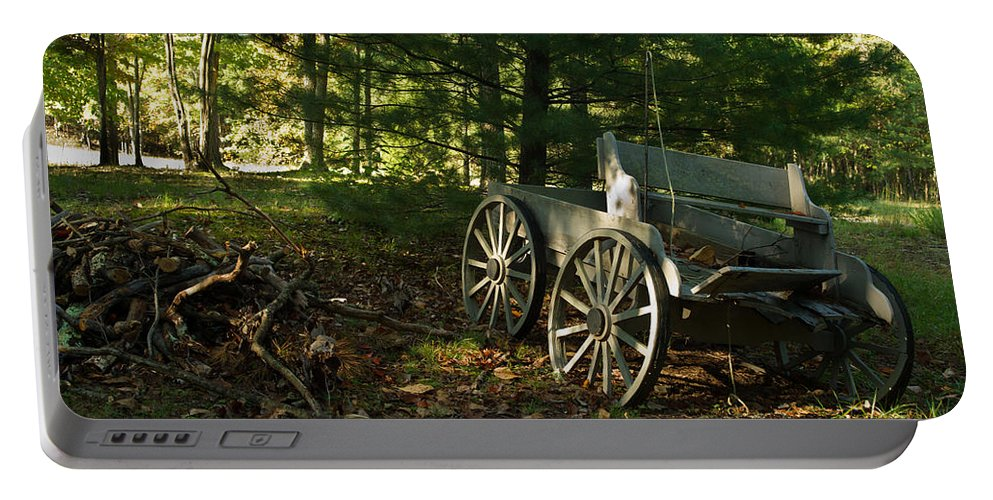 Old Portable Battery Charger featuring the photograph Old Frontier Wagon 1 by Douglas Barnett