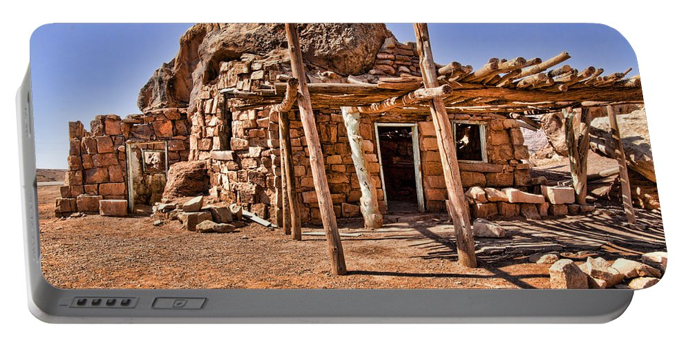 Navajo Portable Battery Charger featuring the photograph Old Navajo Stone House by Jon Berghoff