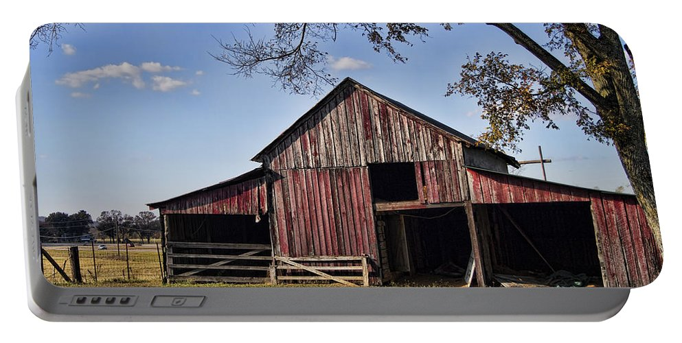 Barn Portable Battery Charger featuring the photograph Old Red Barn by Kathy Clark