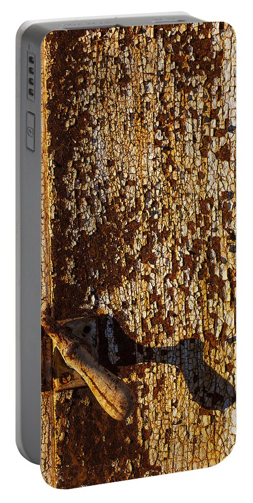 Old Portable Battery Charger featuring the photograph Old Rusty Door by Garry Gay