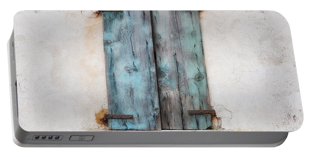 Window Portable Battery Charger featuring the photograph Old Window With Blue Shutte by Mats Silvan
