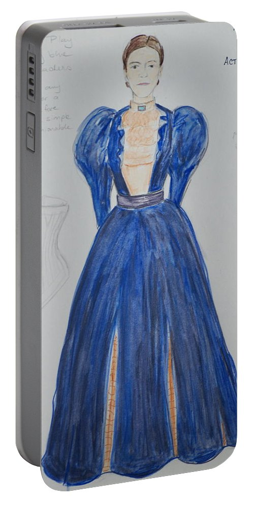 Drawing Portable Battery Charger featuring the mixed media Olga From 'the Three Sisters' by Jennifer Christenson