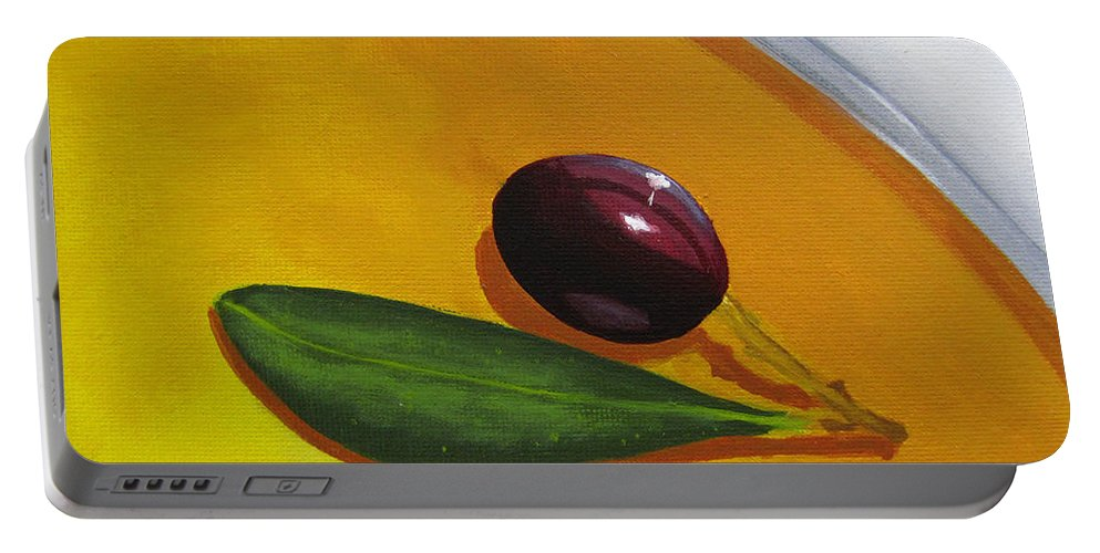 Yellow Portable Battery Charger featuring the painting Olive In Olive Oil by Kayleigh Semeniuk